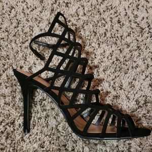 MOSSIMO STRAPPY BLACK SPIKE HEELS